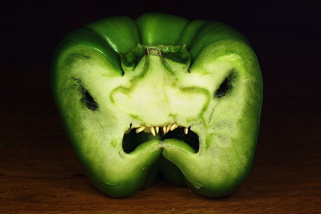 green pepper monster face